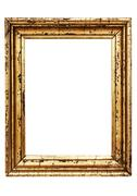 Weathered Golden Picture Frame with Clipping Path Isolated on a White Background - stock photo