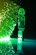 Fiber optics background with lots of light spots Stock Photos