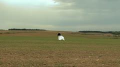 A Girl on open field.mpg Stock Footage