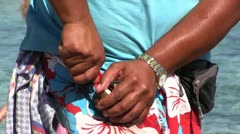 Spain - fruit seller on a beach Stock Footage