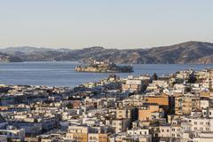 san francisco marina district and alcatraz island - stock photo