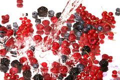 Fruits mix and water Stock Photos