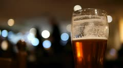 Beer Glass in a Pub Stock Footage