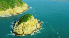 Aerial View Rugged Coastline nr Hong Kong - stock footage