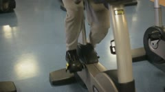 In the Gym: Hometrainer close up Stock Footage