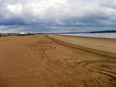 beach in weston-super-mare, uk - stock photo