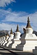 white pagodas tibet - stock photo