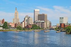 skyline of providence, rhode island - stock photo
