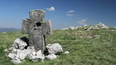 Ancient cross on a hill Stock Footage