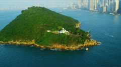 Aerial View Lighthouse on Island Hong Kong Stock Footage