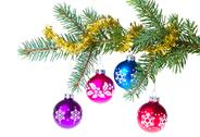 Stock Photo of christmas balls on spruce branch
