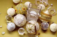 Wonderful christmas composition: beautiful balls and candle Stock Photos