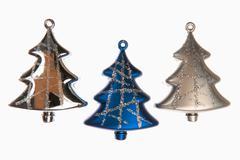 variety of christmas decoration isolated on white background - stock photo
