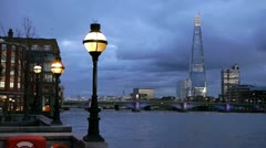Thames, Southwark Bridge and the Shard. Stock Footage