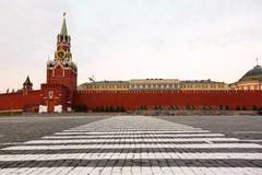 Crosswalk at an empty red square Stock Photos