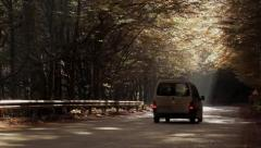Car pass by on a quiet country road Stock Footage