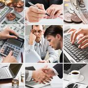 Creative business themed collage: money, human hands, people and technology Stock Photos