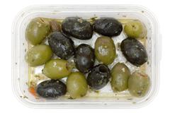 Oily Olives Isolated on a White Background Stock Photos