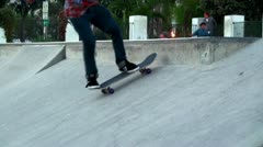 Guys are riding on the outdoor rollerdrome at Santa Barbara. California, USA. Stock Footage