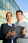 young business people fasten their eyes on their future with confidence and impa - stock photo