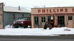 Phillips 66 historic gas station abandoned rural HD 5036 Stock Footage
