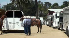 Two cowboys with horses near horseboxes. Stock Footage