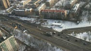 Aerial shot of transportation on road in Moscow Stock Footage
