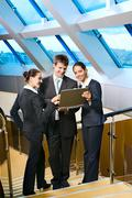 business people are meeting on the staircase - stock photo