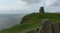 O Brien's Tower on Cliffs of Moher, Atlantic ocean in background Stock Footage