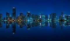 Miami skyline night panorama Stock Photos