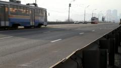 Tramcars on road in Moscow Stock Footage