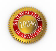 isolated satisfaction guaranteed seal over white - stock illustration