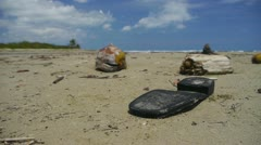 DOLLY: Pollution on the beach Stock Footage