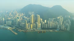 Aerial View Victoria Harbour Hong Kong  Stock Footage