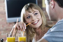 Flirting in the bar - stock photo