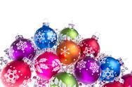 Christmas balls with snowflake symbols Stock Photos