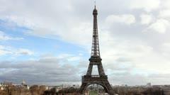 Eiffel Tower in Paris. Horizontal/landscape orientation. Time Lapse. Stock Footage