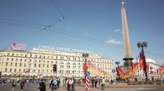 Victory day celebration on Vosstaniya Square in Saint Petersburg, Russia Stock Footage