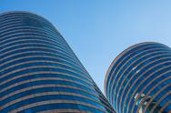 Stock Photo of office buildings in round skyscrappers