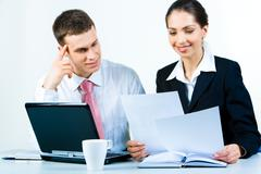 Portrait of confident business people working together Stock Photos