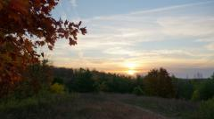 Beautiful autumn sunrise moving time-lapse - stock footage