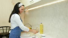 Woman Cooking Ingredients For Chebureks In The Kitchen - stock footage