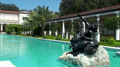 View of the Main Courtyard of Getty Villa (California, USA) - stock footage