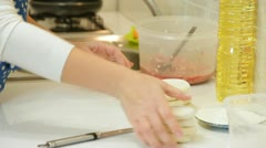 Woman Baking In The Kitchen Stock Footage