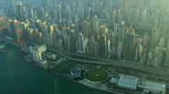Stock Video Footage of Aerial View Victoria Harbour Hong Kong