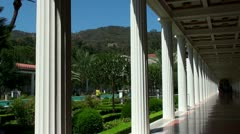 View of the Main Courtyard of Getty Villa (California, USA) Stock Footage