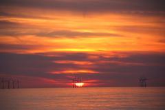 Wind Turbines In Sunset - stock photo