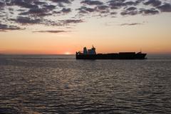 Cargo Container Ship In Sunset Kuvituskuvat