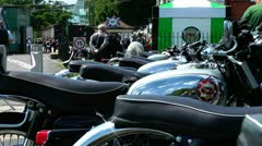 Old Vintage Motorcycles in a row Stock Footage