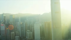 Aerial View of 2 IFC, Bank of China Tower, Hong Kong  Stock Footage